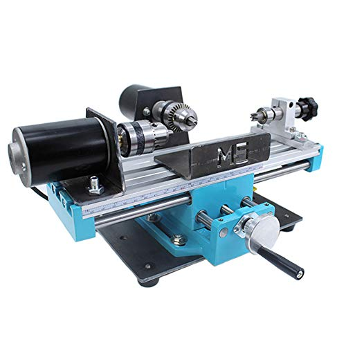 Micro Metal Lathe, Mini Lathe Variable Speed 7000 RPM, High Precision Milling Machine for Mini Precision Parts Processing, Double Bearing, 24V 400W