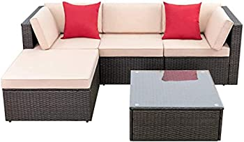 Devoko 5 Pieces Patio Furniture Sets All Weather Outdoor Sectional Sofa Manual Weaving Wicker Rattan Patio Conversation Set with Cushion and Glass Table  Beige