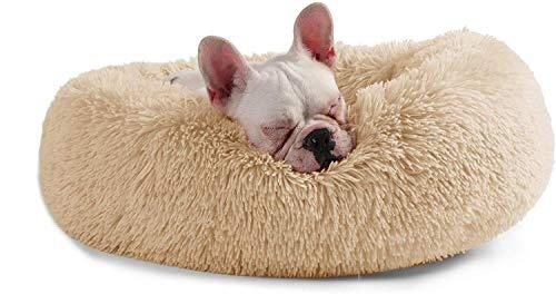 Cama redonda para mascotas, felpa, suave, lavable, autocalentante, calmante para perro, cama redonda para perro, cómoda para dormir en invierno (amarillo, 50 cm)