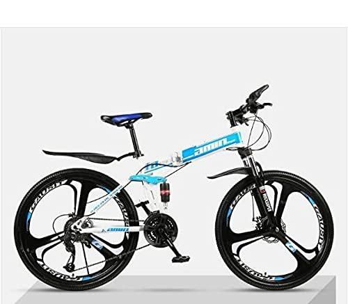 Bicicleta De Montaña Plegable, Bicicleta Ultra Ligera, Choque Doble Fuera De Carretera, Estudiante Bicicleta-Top De Tres Cuchillos con [Azul Blanco 1]_27 Velocidad (por Defecto 26 Pulgadas),