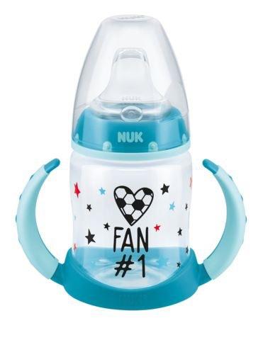 NUK First Choice Trinklernflasche Fußball-Edition, auslaufsicher, 6-18 Monate, 1 Stück, 150 ml, türkis