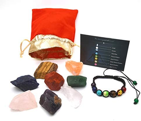 Crystals and Healing Stones Chakra Bracelets for Women Men Raw Healing Crystals 8 Gemstones product image