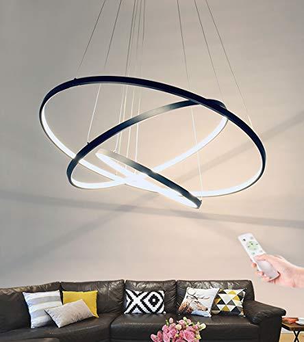 CRJ LED Lampadario Dimmerabile Lampade A Sospensione 3-Anello Acrilico Luce da Soffitto Tavolo da Pranzo Soggiorno Lampade A Sospensione Moderno Soffitto Rotondo Illuminazione,Nero,20cm+40cm+60cm