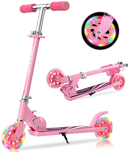Scooter for Kids Ages 6-12/3-5, Light Up Scooter for Girls Boys, Easy Folding Scooter for Kids Ages 5-8 with 3 Levels Adjustable Handlebar and Rear Brake, Lightweight Design, 110 lbs Weight Capacity