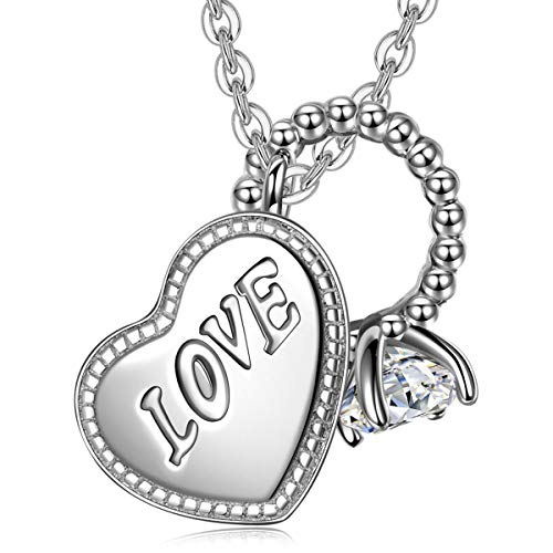 Halskette-Damen, FANCI Halskette damen silber 925 Sterling Silber Halskette Herz-Ring, Muttertagsgeschenk Geschenk für frauen GeschenkefürMama für Oma für beste Freundin