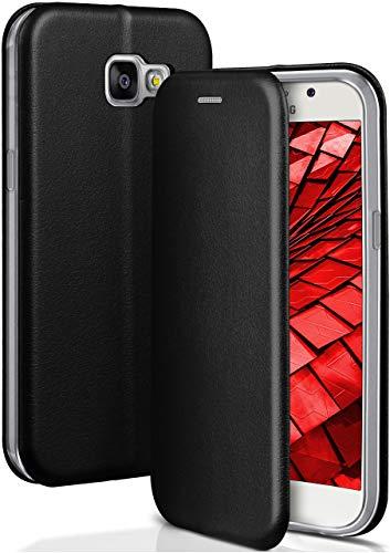 ONEFLOW Handyhülle kompatibel mit Samsung Galaxy A3 (2016) - Hülle klappbar, Handytasche mit Kartenfach, Flip Hülle Call Funktion, Klapphülle in Leder Optik, Schwarz