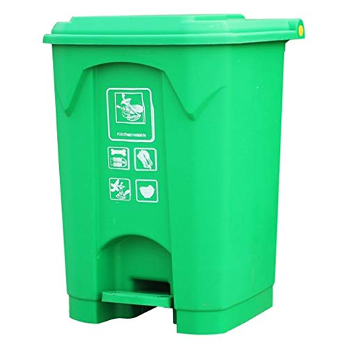 zlw-shop papeleras Bote de Basura con Tapa for Pedales de 50 litros, Bote de Basura for Patio Exterior (Verde) (Color : Green)
