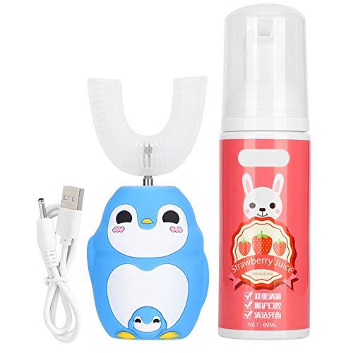 Kinder elektrische Zahnbürste Kinder Automatische Sonic Zahnbürste mit 60 ml Mousse Zahnpasta, U-förmiger Silikonbürstenkopf, IPX7 wasserdicht(Blau)