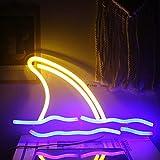 Ineonlife letreros de Neón Con Aleta de Tiburón 11''x7'' luces...