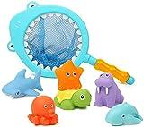 Dulabei 7 Stück Badespielzeug Baby ab 1 Jahr, Badewanne Spielzeug Kinder, Badewannenspielzeug mit Fischernetz