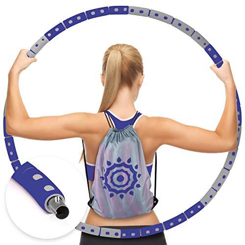PEPELLIA® Hula Hoop Reifen Erwachsene - inkl. Rucksack - Stabiler Edelstahl Hullahub Reifen zum Abnehmen - hoch effektiv für Bauch Beine Po - Weighted Hoola Hoop Reifen Erwachsene - 1200-2300 Gramm