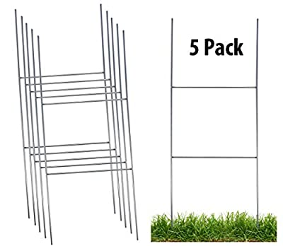 Sturdy Metal Wire Step Stake Frame for Yard Signs - 10 x 24 inch H Frame Wire Stake Sign Spikes (5 Pack)