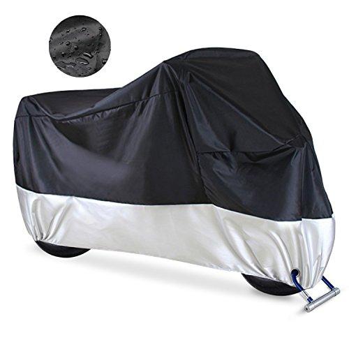 Telo Coprimoto Impermeabile, Misura 245 x 105 x 125cm, 2 Fori di Serraggio,Hualans® Teli per moto 190T Telo Coprimoto Scooter Antipolveri Anti-UV per Esterni