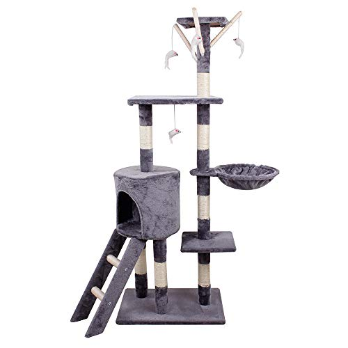 TMZ   1.4M Height Cat Tree Scratching Climbing Activity Centre Sisal Bed Toys Scratcher Tower GREY