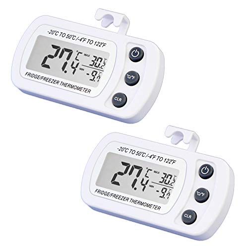 Digital Refrigerator Freezer Thermometer, Waterproof Fridge Thermometer With Max/Min...