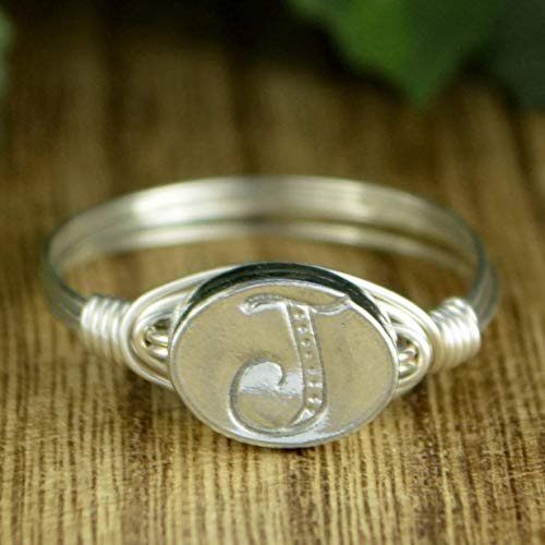 Any Letter/Initial Pewter Bead in Sterling Silver or 14kt Yellow or Rose Gold Filled Wire Band- Handmade Wire Wrapped Ring- Custom made to size 4-14