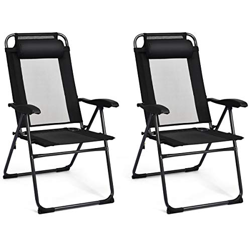 Giantex Set of 2 Patio Dining Chairs, Folding Lounge Chairs with 7 Level Adjustable Backrest, 300 Lbs Capacity, Outdoor Portable Chairs with Metal Frame
