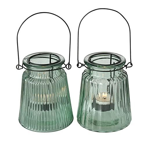 Glas Leuchter Kerzenleuchter Windlichter Teelichthalter 2er Set Sortiert grün H12cm D10cm