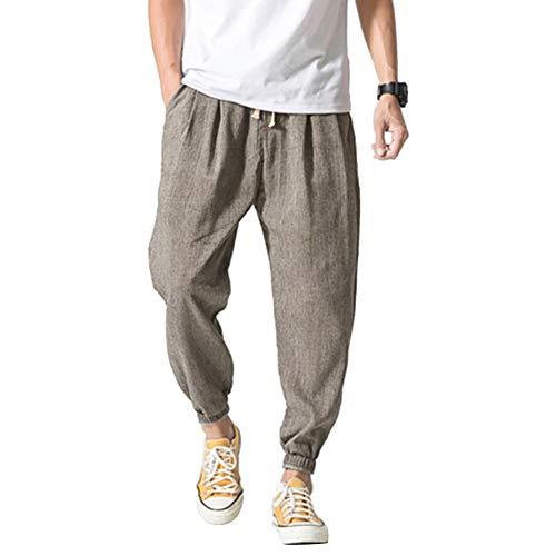 Vanvene - Pantaloni casual da uomo in lino e cotone, leggeri e larghi, da spiaggia, yoga, gamba ampia Grigio 3XL