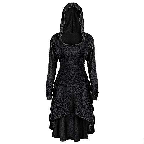 UOFOCO Side Bandage Hooded Dress Womens Casual Long Sleeve Loose Dress Black
