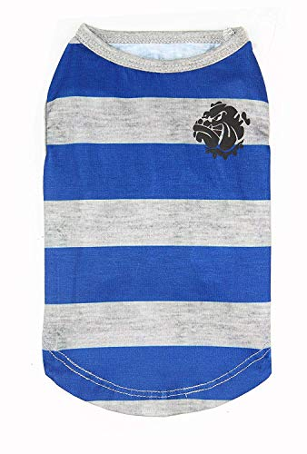 Puppy Face Dog Shirts with Wide Strips Pet Clothes Apparel for Small Extra Small Medium Large Extra Large Dog or Cat (Medium, Blue and Grey)