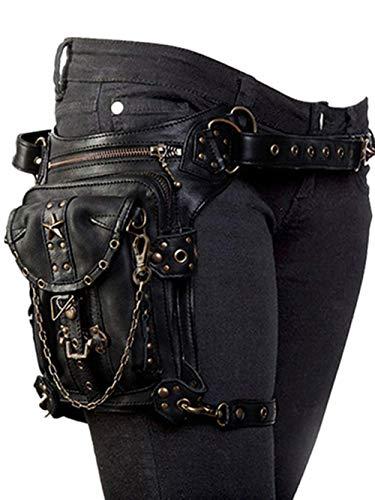 Steampunk Punk riñonera Hombre Bolsa Pierna Moto Bolso Cintura Regalo para motoristas