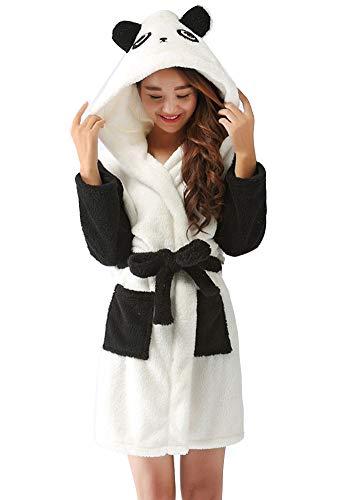 Kinder Tier geformt Fleece-Bademantel mit Kapuze Badetuch Weich Kapuzenhandtuch Flanell Nachtwäsche Schlafanzug 7-13 Jahre Panda S