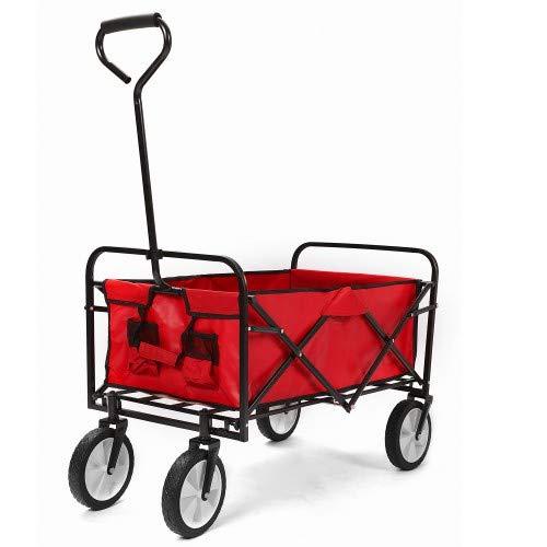 Jedona Bollerwagen faltbar, Outdoor Bollerwagen faltbar mit abnehmbarem Stoff, Gummirädern, Griff, Gewichtkapazität 150 kg (Rot)