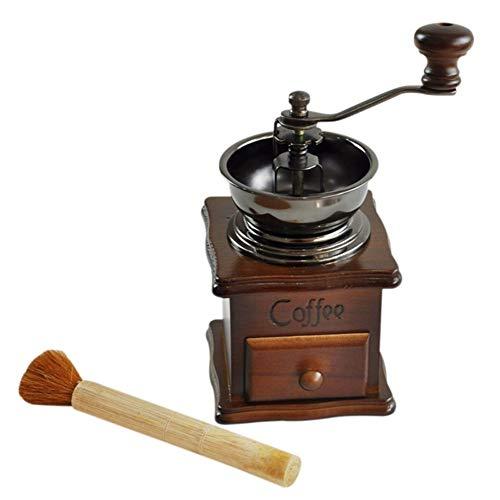 DPPD Molinillo de café, Madera Hierro Fundido Estilo Europeo Color Natural Molinillo de café Manual