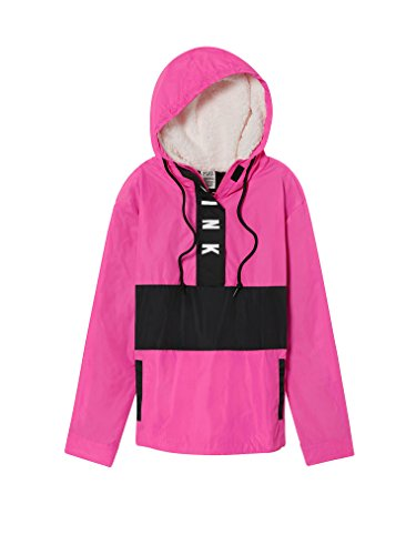 Victoria's Secret Pink Sherpa Lined Hood Anorak Windbreaker Jacket Med/Large Color Pink