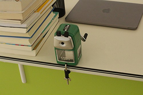 CARL Angel 5 Manual Pencil Sharpener Heavy Duty but Quiet for Office and Home Desks School Classroom,Green Photo #3
