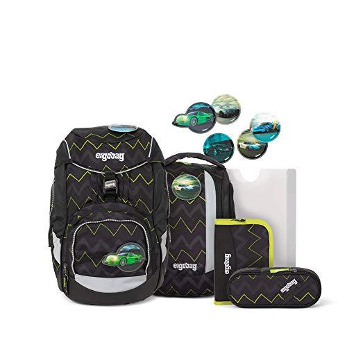 Ergobag Pack Drunter und DrüBär, ergonomischer Schulrucksack, Set 6-teilig, 20 Liter, 1.100 g, Schwarz Grün Zickzack