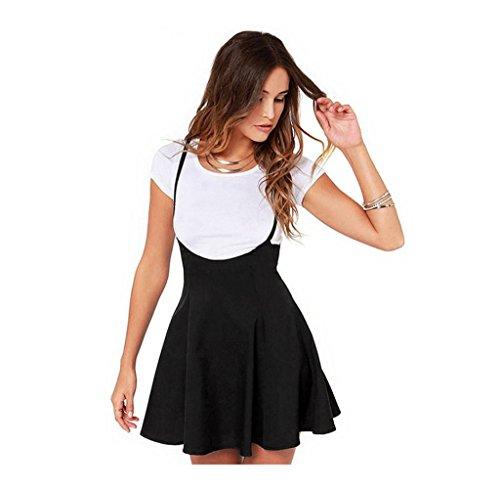 Tongshi Las Mujeres Moda Falda Negra Correas Hombro