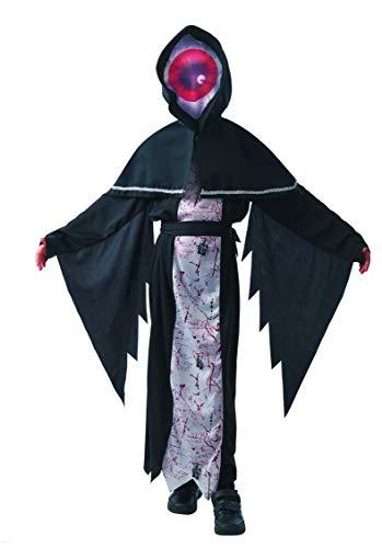 Magicoo Halloween Big-Eye Monster Skelett Kostüm Kinder Jungen schwarz inkl. Robe & Kopfteil mit Maske - Gr 110 bis 140 - Dämon Skelett-Kostüm Kind (122/128)