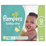 Diapers Size 3, 168 Count - Pampers Baby Dry Disposable Baby Diapers, Enormous Pack (Packaging May Vary)
