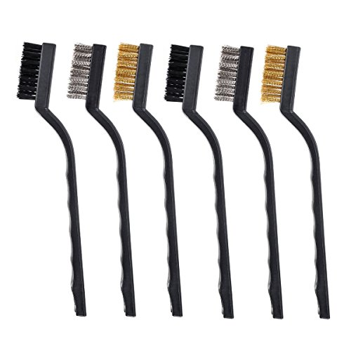 6 Pieces 7 inch Mini Wire Brush Set for Cleaning Welding Slag, Rust and Dust, Stainless Steel, Brass and Nylon