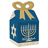 Big Dot of Happiness Happy Hanukkah - Square Favor Gift Boxes - Chanukah Holiday Party Bow Boxes - Set of 12