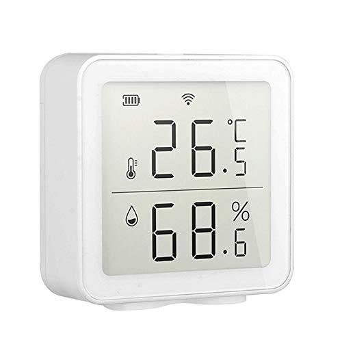 Tiandirenhe WIFI Termómetro Higrómetro, Tuya APP Sensor de Humedad de Temperatura Inteligente Compatible con Alexa/Google, Registro de Fecha y Alertas Termómetro Higrómetros Ambiente Interior Casa