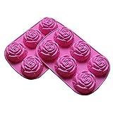 YZLSM 2 Premium Pack Grande Flor de Rose del Cubo de Hielo del Chocolate Jabón Bandeja del Molde de Silicona Partido Maker para Utensilios de Cocina, Rosa