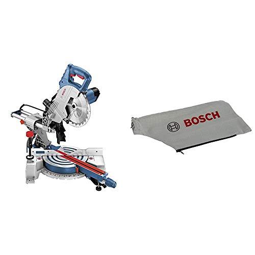 Bosch Professional GCM 800 SJ - Ingletadora telescópica, diametro disco 216 mm, en cartón, 1400 W + Bosch 2 605 411 230 - Saco para polvo - für GCM 10 J (pack de 1)