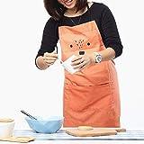 Lindong Süß Kartoon Schürze mit Tasche für Frauen Kinder Wasserdicht Baumwolle Leinen Küchenschürze Latzschürze Kochschürze Kinder Rot - 5
