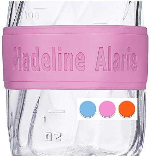 Custom Baby Bottle Labels for Daycare Pink Blue or Orange 4 Pack Sippy Cup Labels Personalized Bands