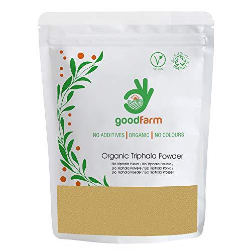 GoodFarm Organic Triphala Powder 1000g - Certified Organic, Premium Quality | Ayurveda | Vegan | Excellent for Digestion & Detox GFTRPA001000P0