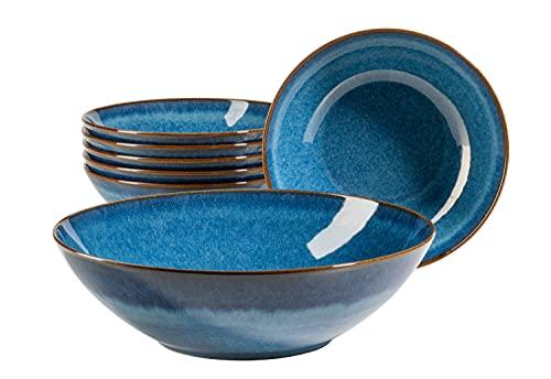 MÄSER Serie Ossia Juego de 7 cerámica, 1 Grande y 6 Cuencos para Ensalada, Cereales, Sopa o Pasta, con Esmalte Vintage en Color, Piedra, azul cobalto
