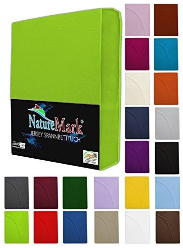 NatureMark Spannbettlaken Jersey alle Größen 22 Farben, Spannbetttuch 180x200 bis 200x200 cm, Farbe Anthrazit