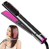 Plancha de pelo profesional 3 en 1, plancha de pelo con placas de cerámica y cepillo de temperatura ajustable, uso en cabello húmedo o seco