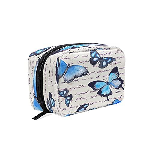 BOLOL - Bolsa de maquillaje con diseño de mariposa de animales de acuarela para cosméticos, bolsa de viaje grande para mujeres y niñas, organizador portátil de mariposa vintage
