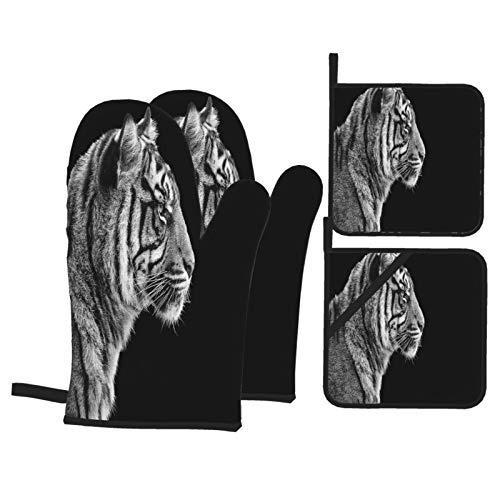 Juego de 4 Guantes y Porta ollas para Horno Resistentes al Calor Retrato de Tigre de Sumatra en Blanco y Negro para Hornear en la Cocina,microondas,Barbacoa