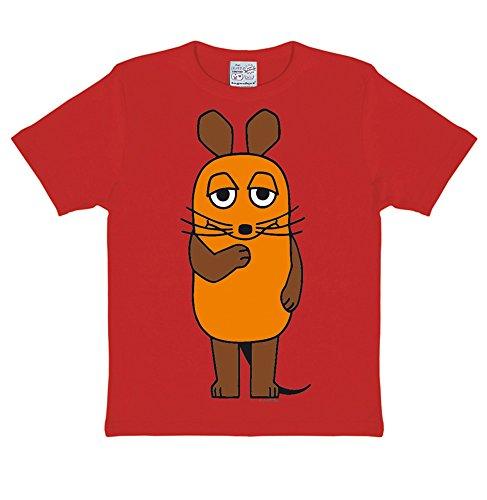 Logoshirt Die Sendung mit der Maus - Die Maus T-Shirt Kinder - rot - Lizenziertes Originaldesign, Größe 104/116, 4-6 Jahre