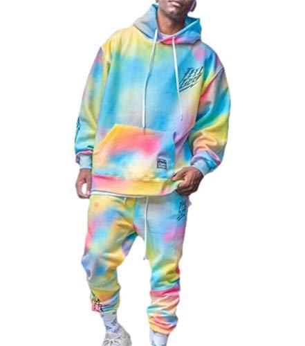Conjunto de chándal con Efecto Tie-Dye para Hombre, Sudadera con Capucha y Pantalones de chándal con Degradado de Personalidad a la Moda, Conjunto de Dos Piezas (Color : Light Blue, Size : XXL)